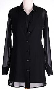 lange voile blouse - Zwart