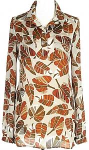 blouse ls - Beige dessin