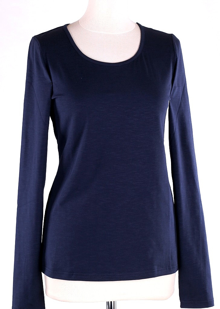 basic shirt ls - D.blauw