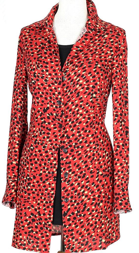 lange blouse - Rood Dessin