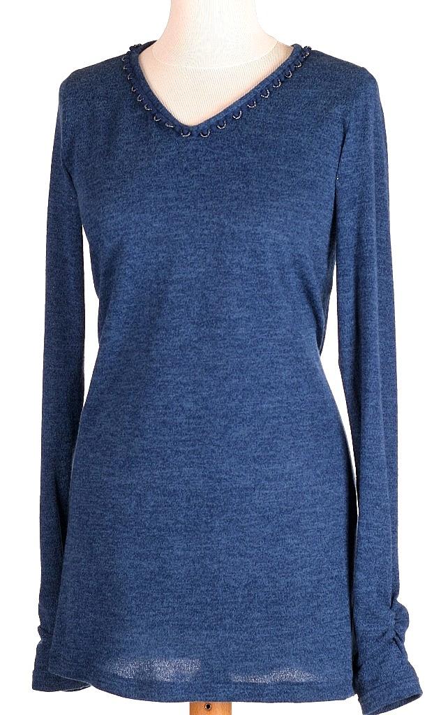 pullover V-hals - Mid.blauw