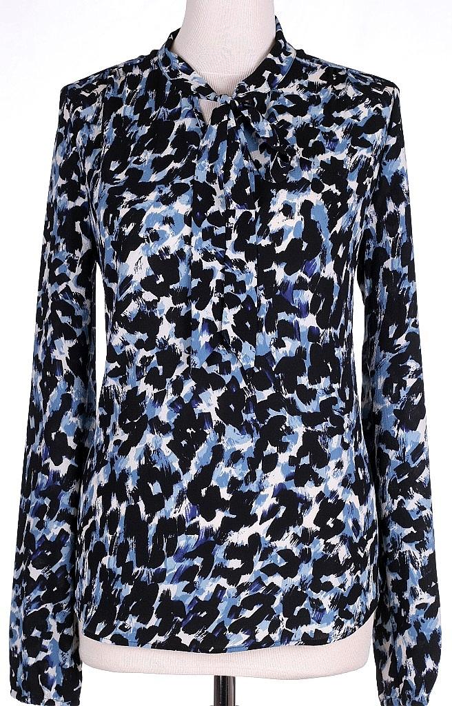 blouse strik - Blauw Dessin