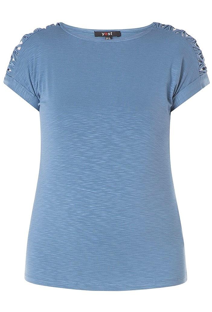 shirt vlecht schouder - Mid.blauw