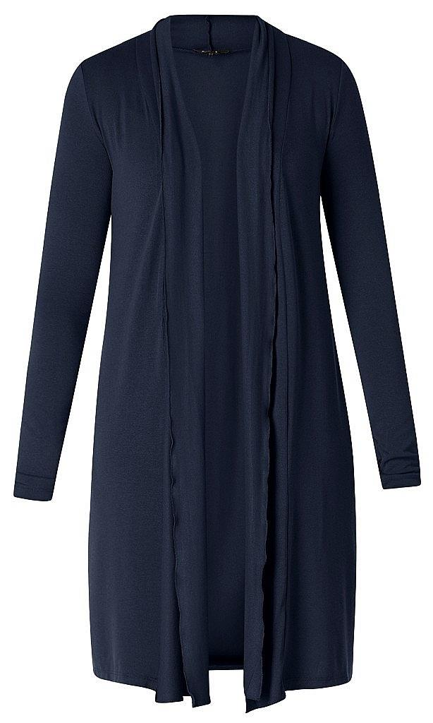 lang tricot vest - D.blauw