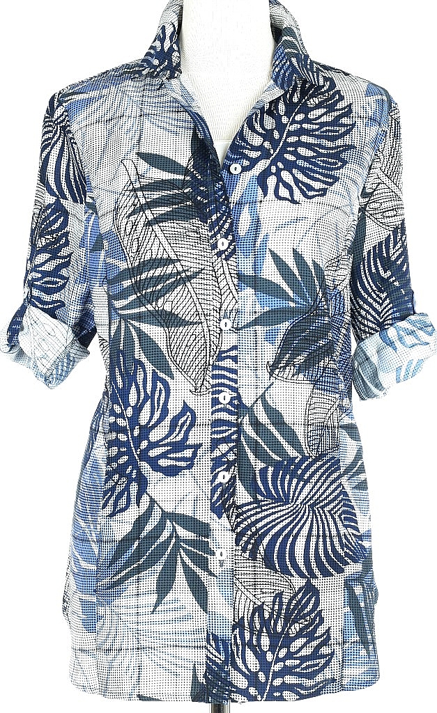 blouse 3/4-mouw - Blauw Dessin