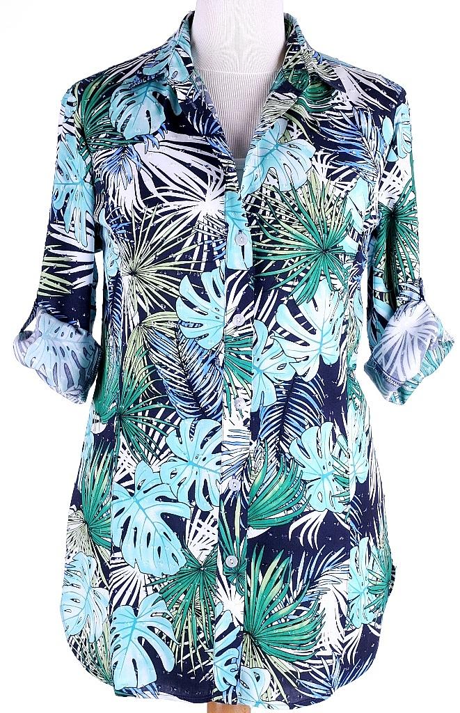 blouse ophaal mouw - Groen Dessin