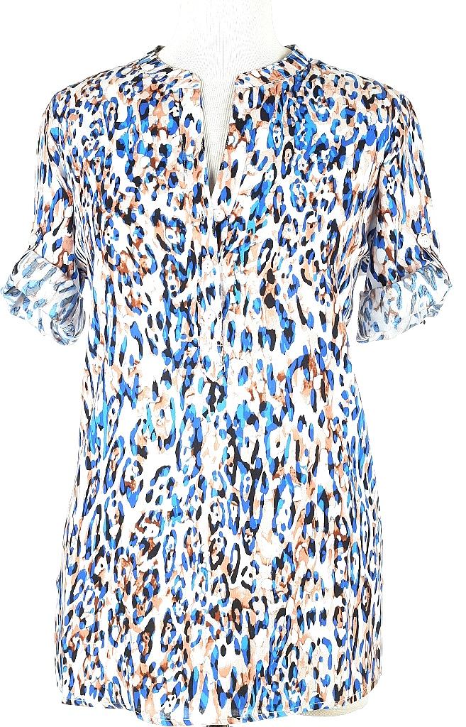 blouse korte mouw - Blauw Dessin